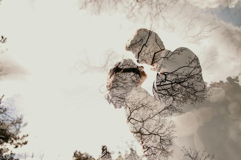 double exposure, couple, trees