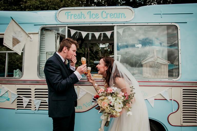 Ice cream van and wedding couple