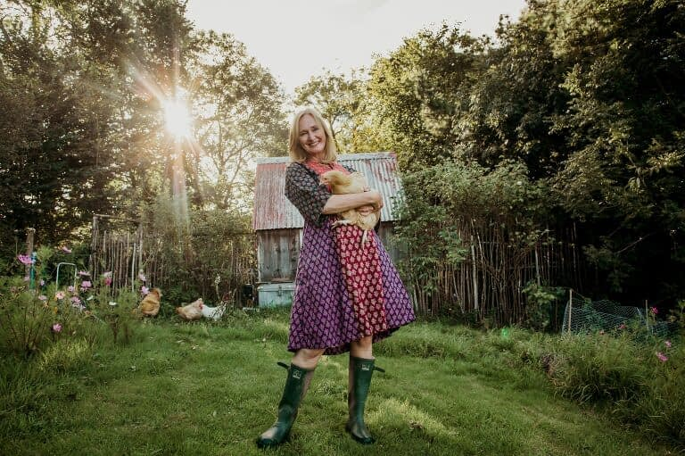 Author holding a chicken